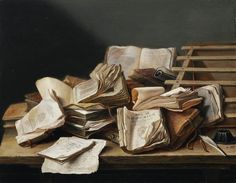 Still Life with Books (1628). Jan Davidsz. de Heem (Dutch, 1606-1683/84). Oil on panel. Frits Lugt Collection. This painting dates from De Heem's early career. The monochromatic composition – a style in vogue from 1625 onwards – contrasts powerfully with the sumptuous, colourful still lifes that the painter produced later in Antwerp. Professors and students would have understood the allusions to the vanity of knowledge conveyed in this pictorial motif.
