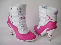 Air Jordan Pink & White Heels.