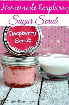 Sweet summer berry smells all year long! This homemade raspberry sugar scrub recipe is great for your skin, your budget AND for gift giving!