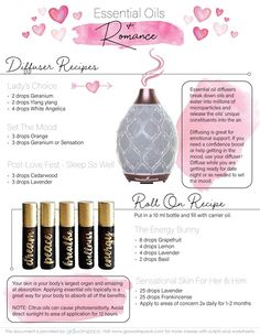 It's time to talk about romance, passion, and everything in between. Young Essential Oils, Roller Bottle Recipes, Essential Oil Diffuser Blends, White Angelica Young Living, Yl Oils, Diffuser Recipes, Diy Beauty, Fragrances, Natural Health