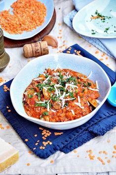 Gulasz z czerwonej soczewicy z cukinią i pieczarkami South Beach, Tofu, Curry, Vegetarian, Lunch, Dinner, Cooking, Ethnic Recipes, Diet