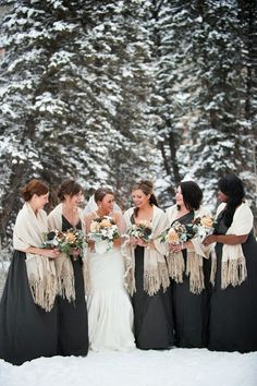 I love the shaws on the bridesmaids!! But i would do burgandy or lilac accents with the cream shaw. Polar Vortex Wedding | The Frosted Petticoat