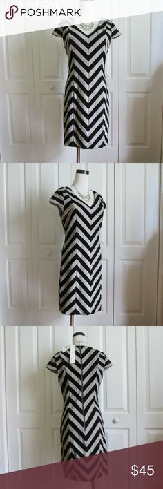 NWT Aryn K chevron dress M Reposh: Gorgeous chevron dress by Aryn K from Anthro, super flattering bodycon/sheath dress. Size M, tts. I am reposhing this treasure, because the black velvety stripes are major pet hair magnets,  so this dress won't work for me, as my Aussie sheds like it's his job,. :-) Tag is still attached. Smoke-free home. :-) Anthropologie Dresses