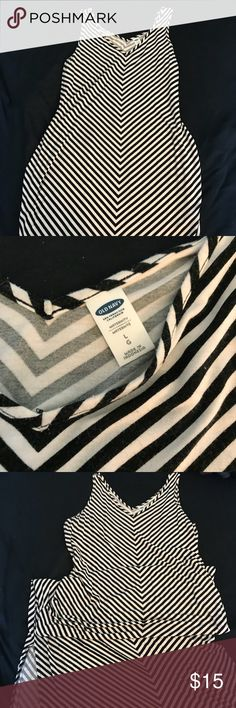 Old Navy Striped Maternity Maxi Dress Size large, tank style straps. Black and white striped design. Slits to knee. Maxi length. Lots of room to accommodate growing belly! Bodycon fitted style. Old Navy Dresses Maxi