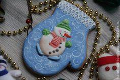 """Купить Пряник №3 на новый год """"Новогодняя варежка"""" - синий, пряники, пряник, пряник расписной"""