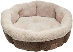 Precision Pet Shearling Round Bed, 21-Inch, Coffee Liqueur Chenille luxurious comfortable machine washable