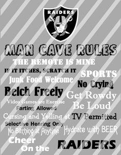 Oakland Raiders Man Cave Rules Wall Decor Sign Printable Digital File