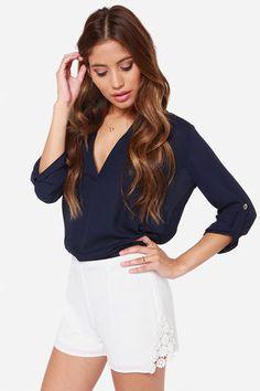 White Lace Shorts: white - medium $31 at LuLu's