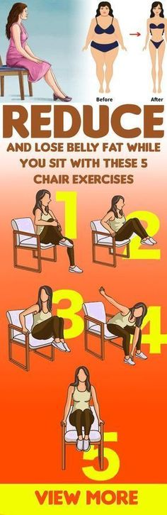 Reduce & Lose Belly Fat While You Sit & These 5 Chair Exercises! : Reduce & Lose Belly Fat While You Sit & These 5 Chair Exercises! Fitness Workouts, Sport Fitness, Fitness Foods, Reduce Belly Fat, Burn Belly Fat, Abdo Workout, Bora Malhar, Belly Fat Burner Workout, Chair Exercises