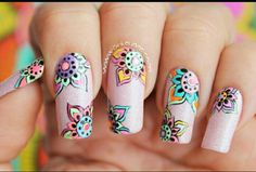 Uñas Fashion, Vintage Nails, Manicure Y Pedicure, Nail Designs, Hair Beauty, Nail Art, Floral, Beautiful, Outfit