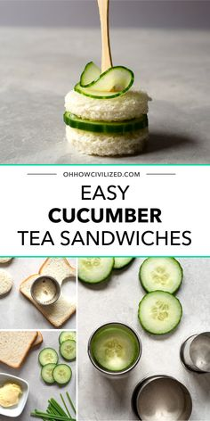 Dainty and easy-to-make cucumber sandwiches with chive butter. Get step-by-step directions on how to make this simple, elegant, and delicious savory. Cucumber Tea Sandwiches, Finger Sandwiches, How To Make Tea, Food To Make, High Tea Food, Bite Size Appetizers, Recipe Today, Food Illustrations, Tea Recipes