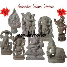 Ganesha Stone Statue, created by mogul-chandok on Polyvore