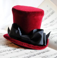 Valentine's Day Red Velvet Bow Mini Top Hat  by RagDolliesMadhouse, €63.00