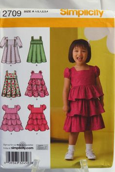 Simplicity 2709 Toddlers Dress with Skirt Vatiations
