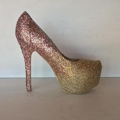womens rose gold champagne ombre glitter heels wedding bride shoes glitter  shoe co 3ace6fed61