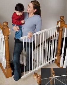 Kidco Angle Mount Safeway G2100 / G2101 - The Pro-Babyproofer choice for the top of the stairs.  We use this gate in top of the stairway situations almost exclusively due to its durability and security.