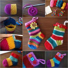 Wonderful DIY Rainbow Crochet Christmas Socks with Free Pattern | WonderfulDIY.com
