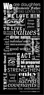 Click here to download the full-size version of Young Women Theme Subway Art - Negative - LDS Clipart Image