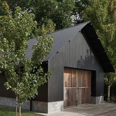 Surrounded by a European landscape, the Trentham Barn was designed referencing the traditional pitched roof 'barn' shape. Shed Design, Garage Design, House Design, Contemporary Sheds, Contemporary Cottage, Shed Homes, Cabin Homes, Log Homes, Garage Guest House