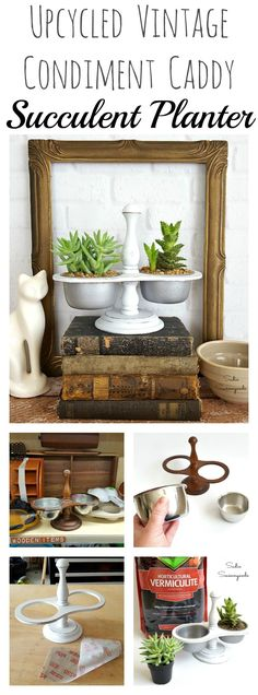 """A vintage condiment caddy or condiment carrier from the thrift store is seriously the perfect little item to upcycle and repurpose into a DIY succulent planter! Use the metal cups to hold the plants-  so simple! I gave this one a farmhouse style makeover with white chalk paint and some """"galvanizing"""" spray paint on the stainless steel cups. Now I have a Fixer Upper, Farmhouse style succulent planter that is just wonderful! Great repurpose from Sadie Seasongoods / www.sadieseasongoods.com"""