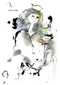 """""""A woman with a cat"""". 20x30 cm. Paper. Gouache. http://www.facebook.com/thecatalinalira"""