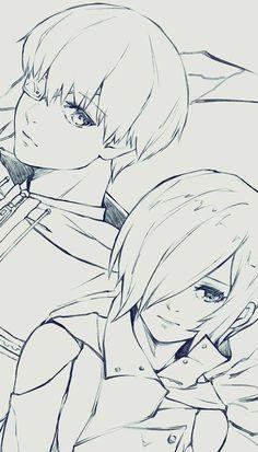 Kaneki and Touka Tokyo Ghoul Anime Drawings Sketches, Anime Sketch, Manga Drawing, Manga Art, Manga Anime, Anime Art, Tokyo Ghoul Drawing, Tokyo Ghoul Manga, Kaneki Ken Drawing