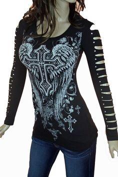 Bling Rhinestone Tattoo Cross Rose Wings Peekaboo Cutout Shoulders New Top at Amazon Women's Clothing store: