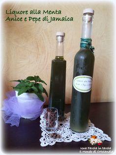 Ottimo digestivo, fresco e leggero, perfetto per la stagione estiva: liquore alla menta, anice e pepe di jamaica