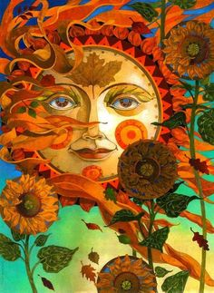 'Autumn Sun' - by David Galchutt <> (sun, moon, stars state of mind) Sun Moon Stars, Sun And Stars, The Sun, Psychedelic Art, Fantasy Kunst, Fantasy Art, Fantasy Paintings, Art Soleil, Art Hippie