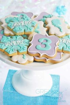 Sugar cookies at a Frozen birthday party! See more party planning ideas at CatchMyParty.com!