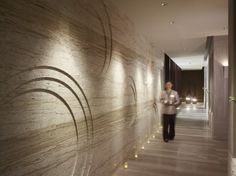 carved stone wall, circle, marble, spa, cream, modern