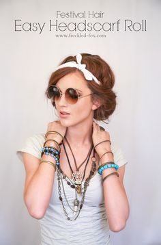 [ Hair Tutorials : The Freckled Fox : Festival Hair Week: Easy Headscarf Roll (can I just say that I LOVE this look! Cute Simple Hairstyles, Summer Hairstyles, Pretty Hairstyles, Easy Hairstyles, Casual Hairstyles, Newest Hairstyles, Festival Hairstyles, Perfect Hairstyle, Bandana Hairstyles