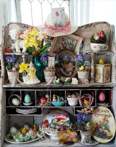 Bright and Festive Vintage Easter Joys An antique secretary full of bright and festive vintage Easte Easter Crafts For Kids, Easter Gift, Happy Easter, Easter Ideas, Easter Decor, Easter Centerpiece, Easter Projects, Bunny Crafts, Gift Shop Displays