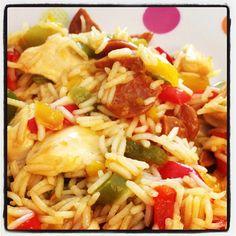 Riz pilaf au poulet et chorizo