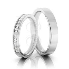 10k White Gold Polish Flat Matching Wedding Rings 0.15 Carat Round Diamond 3mm, 4mm 02126