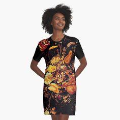 Modern Floral Pattern by ind3finite | Redbubble Yellow Peonies, Dark Flowers, Textile Prints, Black N Yellow, Chiffon Tops, Print Design, Wrap Dress, Bodycon Dress, Glitch Art