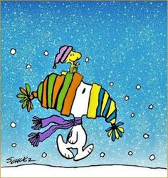 Snoopy & Woodstock in Winter ~ Charles Schulz Snoopy Comics, Bd Comics, Charlie Brown Und Snoopy, Meu Amigo Charlie Brown, Snoopy Images, Snoopy Pictures, Peanuts Christmas, Charlie Brown Christmas, Merry Christmas
