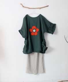 7e244775889 Ready to wear plus size flower fold emerald linen dress   tunic top    handmade linen tunic with flower motif   plus size comfy fit
