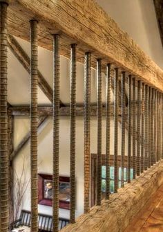 stair railing make from timber and re-bar... genius!