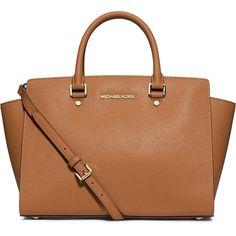 MICHAEL Michael Kors Selma Large Saffiano Satchel Bag ($358) ❤ liked on Polyvore featuring bags, handbags, purses, accessories, michael kors, peanut, monogram tote, satchel handbags, purse tote and monogrammed handbags