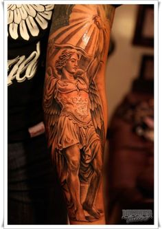 Angelic tattoos are always interesting. Interestingly, among the archangel tattoos, St Michael Tattoo design is one of the extremely popular one. Forearm Tattoos, Body Art Tattoos, Tribal Tattoos, I Tattoo, Sleeve Tattoos, New Tattoos, Tatoos, Archangel Michael Tattoo, St Michael Tattoo