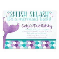 #Mermaid Birthday Party Invitation - #saturday #saturdays