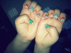 Mushroom nails #Nintendo #SuperMario #Mushroom
