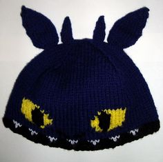 Free knitting pattern for Toothless Hat -Webknitter13 was inspired by How to Train Your Dragon to created this My Favorite Dragon Hat.