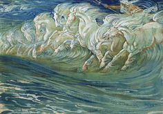 The Horses Of Neptune Canvas Print by Walter Crane