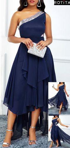 rotitaNavy Blue One Shoulder Asymmetric Hem Dress - Gala Dresses, Dressy Dresses, Homecoming Dresses, Blue Dresses, Evening Dresses, Dresses For Work, Bridesmaid Dresses, Elegant Dresses, Summer Dresses