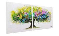 Acrylmalerei - Acryl Gemälde 'BUNT BAUM TIER' echt handgefertigt - ein Designerstück von KUNSTLOFT bei DaWanda