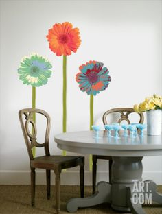 Gerberas with Stems Wall Decal at Art.com
