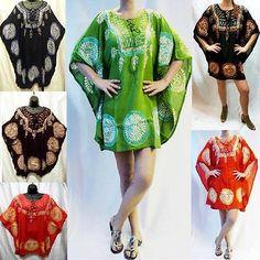 Tunic-Moroccan-Hoop-L-XL-1X-2X-3X-Tie-Dye-Summer-Top-Poncho-Caftan-Blouse-Dress