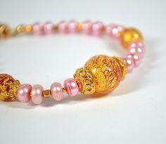 Pink freshwater pearl bracelet Venetian glass by ShopPretties, $65.00